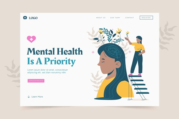 Mental health landing page template