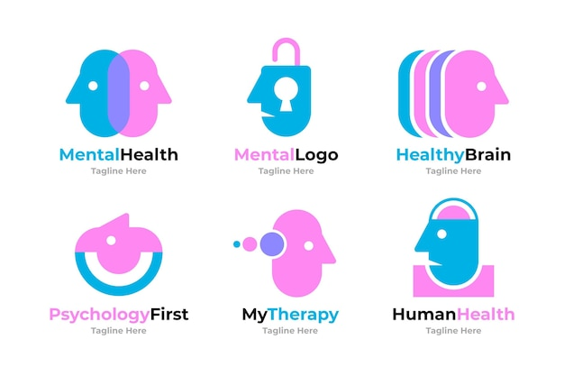 Mental health logo templates set
