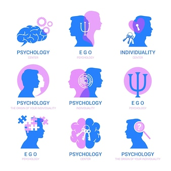Mental health logo templates set