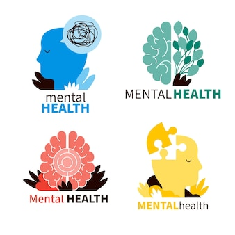 Mental health logos set