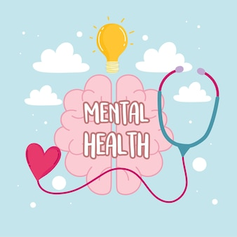 Mental health medical stethoscope and brain