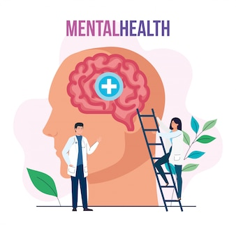 Mental health medical treatment, doctors with profile human