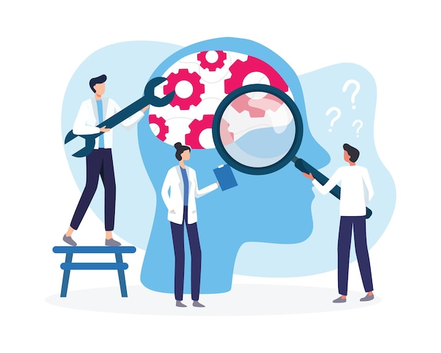 Mental health medical treatment illustration. broken mental health psychological therapy. specialist doctor work together to give psychology therapy. in flat style
