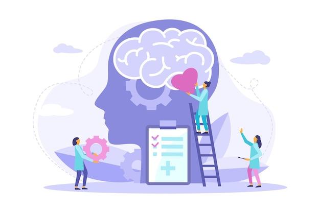 メンタルヘルス治療。メンタリティヘルスケアと医療療法は精神的な問題の概念を防ぎます。サポート、精神的な問題を支援します。バナー、ポスター、着陸のベクトルフラットイラスト