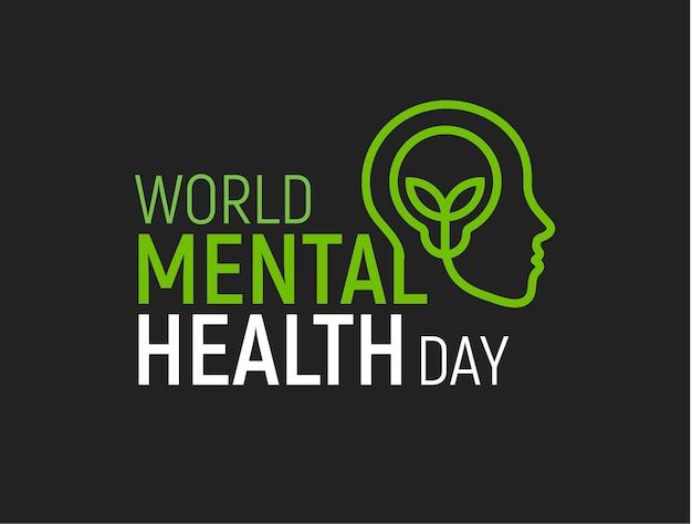 メンタルヘルス現代ベクトルロゴ世界保健デーフラット人間の頭のアイコンランプと葉の内側