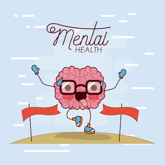 Mental health poster of brain cartoon with glasses running