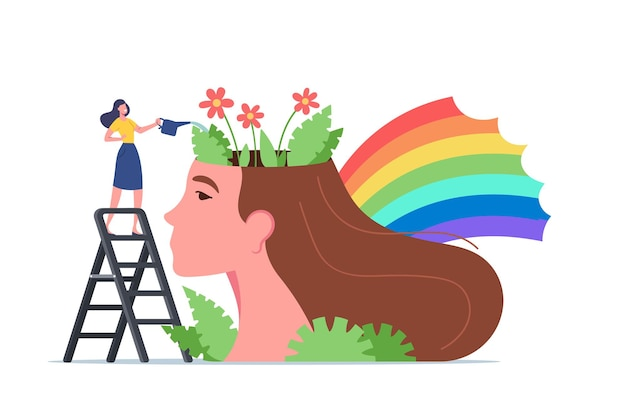 Mental health, psychological support, healthy mind, positive thinking. tiny woman character stand on ladder watering flowers at huge female head with colorful rainbow. cartoon vector illustration