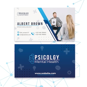 Mental health psychology consult horizontal business card template