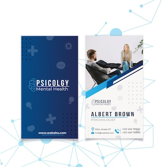Mental health psychology consult vertical business card template