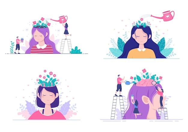 Mental health psychology flat illustration