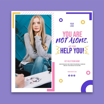 Mental health square flyer template