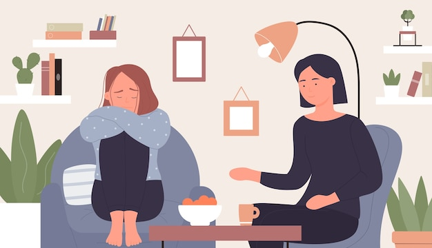Mental health support, cartoon psychologist counsel taking care and help, counselling woman patient