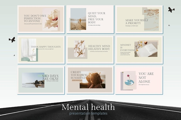 Mental health template vector set quote for presentation