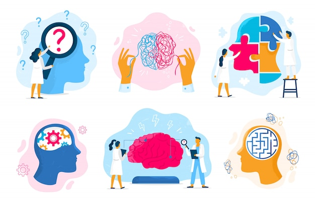 Mental health therapy. emotional state, mentality healthcare and medical therapies prevention mental problem illustration set