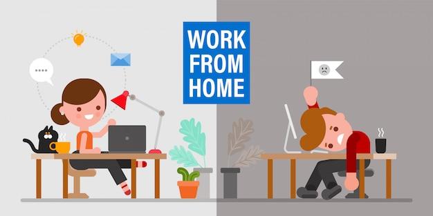 재택 근무시 정신 건강. 남자와여자가 다른 감정을 표현하는 그들의 작업 영역에 앉아. 평면 디자인 스타일 만화 캐릭터.