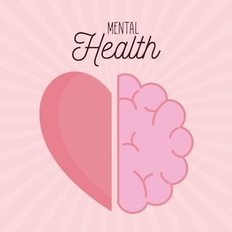 Психическое здоровье с иконой мозга и сердца разума и человеческой темы
