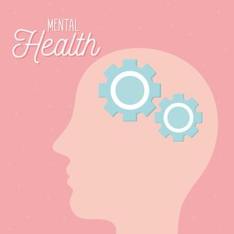 Психическое здоровье с шестеренками в голове и человеческая тема