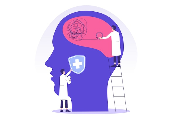 Mental health with psychotherapists or specialist doctors working together