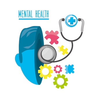 Mental healthy with stethoscope and hospital symbol