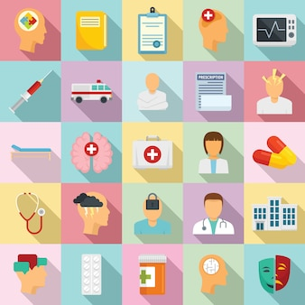 Mental hospital icons set