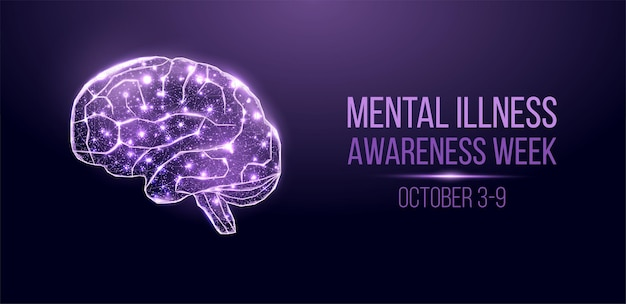 Mental illness awareness week concept. banner with glowing low poly wireframe brain. isolated on dark blue background. vector illustration.