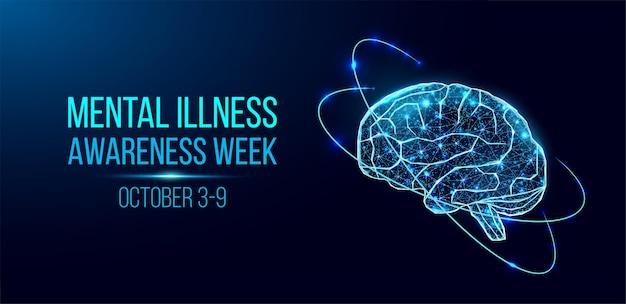 精神疾患啓発週間のコンセプト。輝く低ポリワイヤーフレームの頭脳を持つバナー。紺色の背景に分離。ベクトルイラスト。
