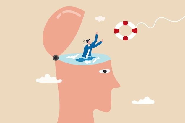 Mental illness therapy or help, depression or anxiety disorder rescue, psychology or stressed healing concept, therapist throw lifebuoy to help man drowning in his depressed brain.
