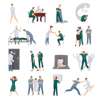 Mental illnesses icons set with mad people and medical staff in various situations isolated vector i