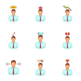 Mental issue avatar set, cartoon style