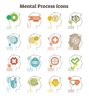 Mental process vector icons collection