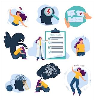 Психологическое лечение. проблемы разума и иллюстрации концепции эмоционального лечения защиты человека здравоохранения. психическое здоровье, лечение и терапия