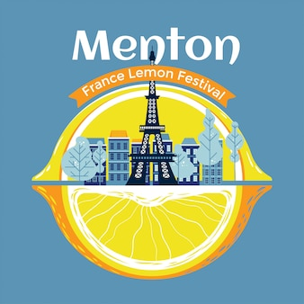 Menton france lemon festival vector premium