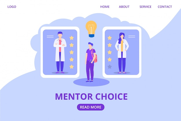 Mentor choosing for trainee intern according to rating, score illustration website.