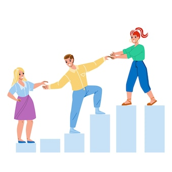 Mentor helping employee for achievement. woman mentor help man and guy help girl for growth work career or consult for increase income.