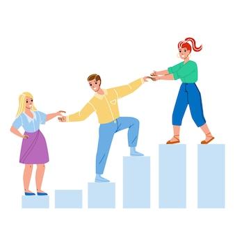 Наставник помогает сотруднику добиться успеха. женщина-наставник поможет мужчине и парню помочь девушке для роста работы, карьеры или проконсультироваться для увеличения дохода.