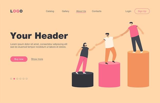 若い従業員が成長する棒グラフの上に登るのを助けるメンター。手をつないで二階を一緒に歩くチーム。メンターシップ、チームワーク、プロフェッショナルサポートコンセプトのランディングページ