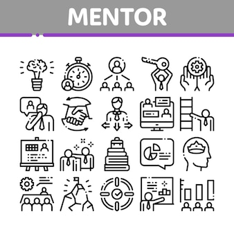 Mentor relationship collection icons set