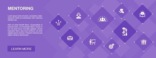 メンタリングバナー10アイコンconcept.direction、トレーニング、モチベーション、成功シンプルなアイコン