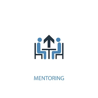 Концепция наставничества 2 цветных значка. простой синий элемент иллюстрации. дизайн символа концепции наставничества. может использоваться для веб- и мобильных ui / ux
