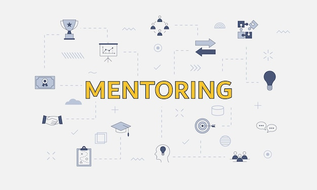 Mentoring concept concept with icon set with big word or text on center