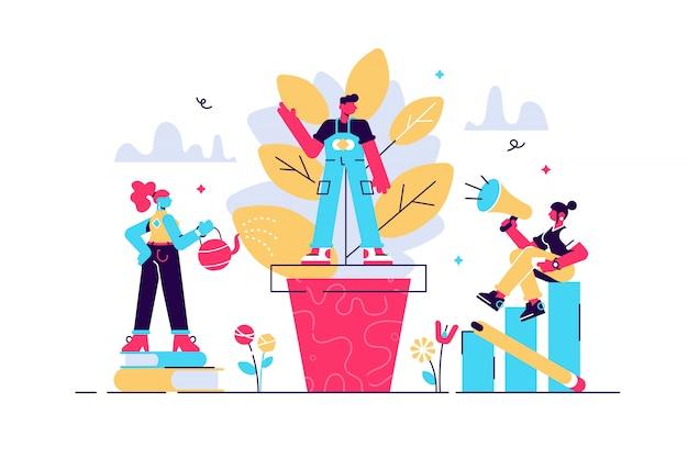 メンタリングイラスト。フラット小さな動機ソファの人の概念。従業員の教育開発の教師であり、リーダーの感動的な知識。個人またはキャリアの目標達成戦略アドバイス。