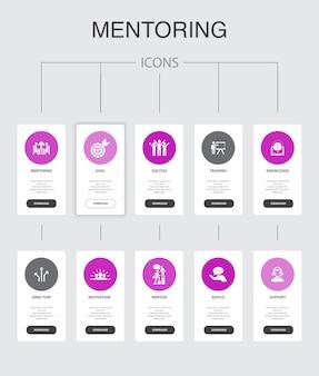 Наставничество инфографика 10 шагов ui-дизайн. направление, обучение, мотивация, успех простые иконки