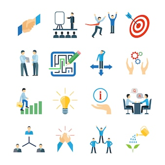 Mentoring and personal skills development icons flat set