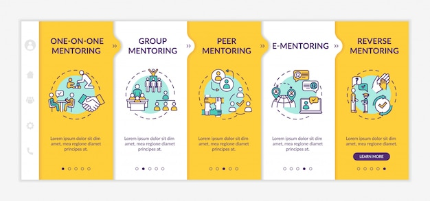Mentorship types onboarding vector template