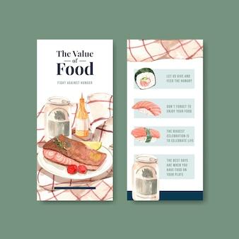 レストランとチラシの水彩画の世界食の日のコンセプトデザインのメニューとチラシ