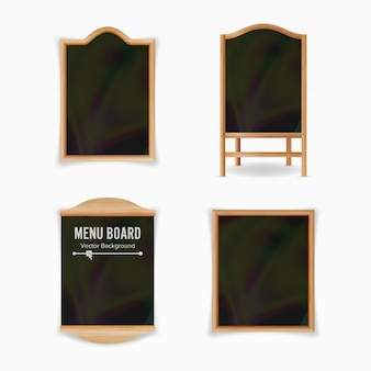 Menu black board vector. empty cafe menu set. realistic wooden chalkboard blank