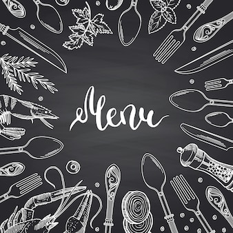 Menu on black chalkboard  with hand drawn tableware and food elements