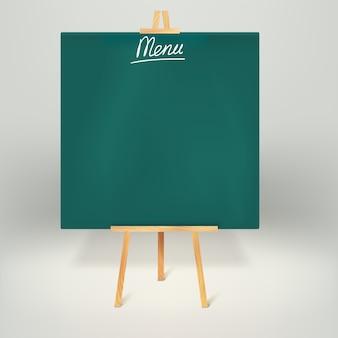Menu blackboards or chalkboards.