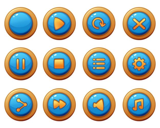 Комплект графического интерфейса игры шаблона кнопки меню. кнопка интерфейс для создания веб- и мобильных игр и приложений Бесплатные векторы