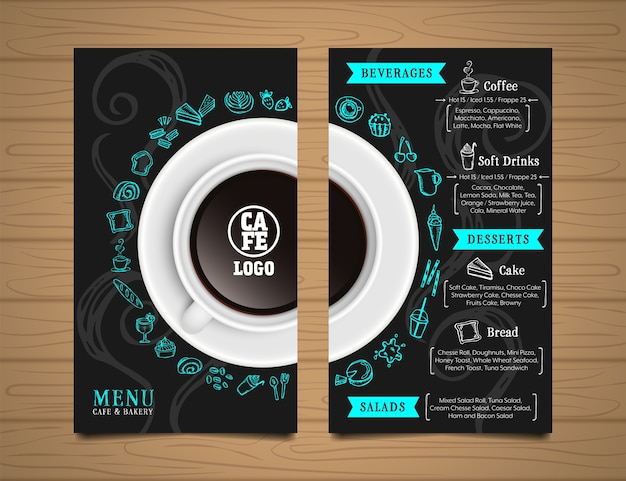 Menu cafe and bakery with big coffee cup and drawing elements front and back layout templa